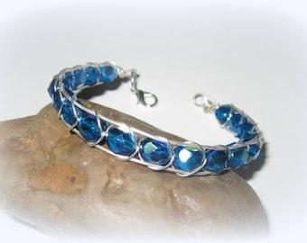Beaded Bracelet Handmade Blue Crystal and Silver Bangle Bracelet