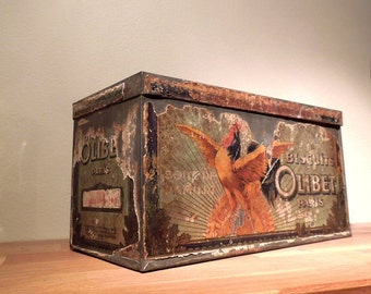 Large French Biscuit tin box Olibet Paris Illustrated metal French Vintage Antique France home decor storage kitchen decor Food Photo Prop