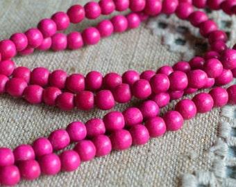 100pcs 8mm Dark Pink Wood Natural Beads Round Macrame Bead