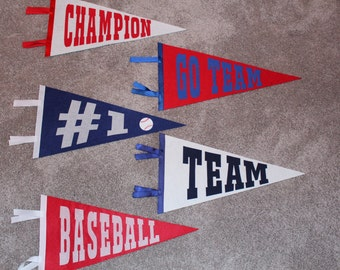 Set of 5 Personalized Pennants- kids girls boys sport pennant birthday gift idea room decor wall art