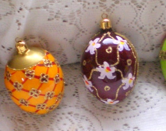 Vintage Made in Germany Hand Painted Christmas Eggs**Set of 6**