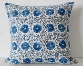 Duralee Riya Blend Blue suzani medallion decorative pillow cover