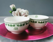 RESERVED Canadian Pacific Railway CP Hotel China Bowls Ornamented Green Monogram Pattern CPR Imperfect Fenton Crown Staffordshire