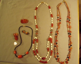 Vintage Lot Amber Bead 3 Necklaces 2 Pins Earrings Some With Bone Black Stone Yellow Gold Tone Beads 8636