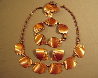 Vintage Copper Necklace Bracelet Pin & Earrings Set Coppercraft Guild 1950s  8389