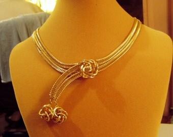 Vintage 1960s High End Gold Tone Lariat Slide Choker Necklace  8540