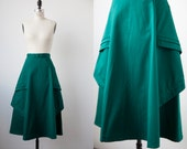 Vintage High Waist Kelly Green Flared Skirt with Unique Panel Details Midi Calf Length XS-S