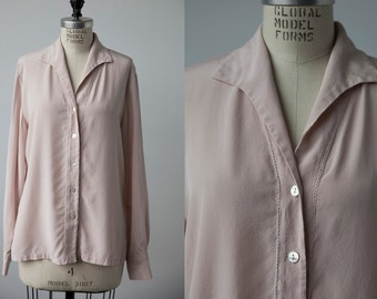 Vintage SILK Pink Rose Button Down Blouse Small Pointed Collar Shirt 80s M-L