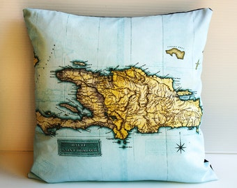 Travel map Cushion cover / pillow HAITI map cushion / wedding gift/ honeymoon / 16 inch pillow / county maps