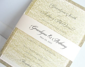 Wedding Invitation, Wedding Invite, Elegant Invitation, Rustic Wedding, Rustic Invitation, Elegant Wedding, MESH GLITTER-TRIPLE