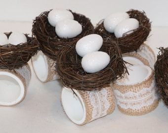 Bird Nest with Eggs Napkin Rings Set of 5