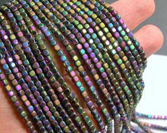 Hematite Rainbow - 3mm cube beads -  full strand - 140 beads - AA quality - matte and polished  - PHG247