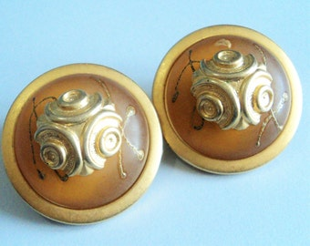 Chunky Gold Italian Earrings... c.1980s... Clip-On