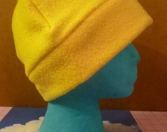 Yellow Fleece Beanie SIZE large/xlarge