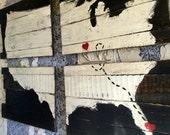 Valentines Day Decor, Wood Plank Art, Love Sign, Long Distance Friendship, Long Distance Boyfriend, Wall Art Large,World Map Wall Art, 24x36