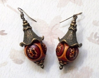 Red and Brass Oriental Earrings (2467)