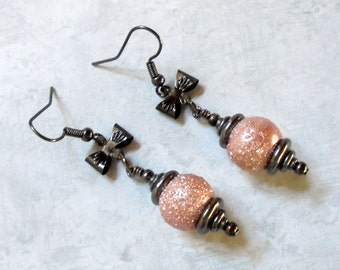 Pink and Black Textured Pearl and Bow Earrings (2665)