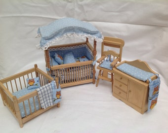 Dolls House Luxury 1/12th Dressed Canopied Cot Set - Billie