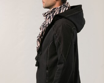 Biker Jacket For Men - cotton fleece jacket - patch jacket - men's clothing - burning man