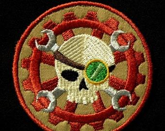 "Steampunk Skull Iron on Patch 3"""