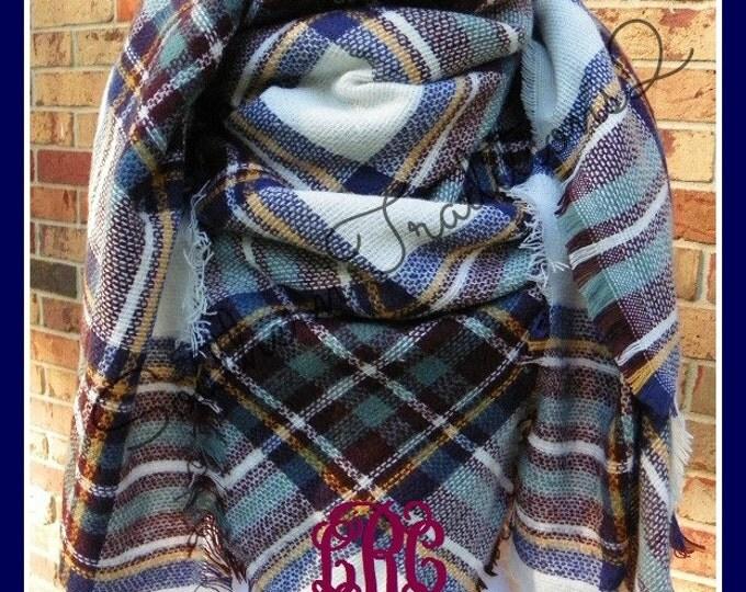 Monogrammed Blanket Scarf - Monogram Plaid Scarf - Monogram Plaid Blanket Scarf - Blanket Scarf Plaid
