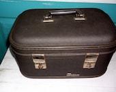 Train Case Vintage Industrial or Gun Metal Gray Trojan Luggage Co Train Case traincase overnight case Going to Grandma's measures 13 x 9 x 8
