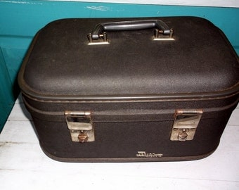 Train Case Vintage Industrial or Gun Metal Gray Trojan Luggage Co Train Case traincase overnight case Going to Grandma's measures 13 x 9 x 8