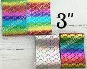 "2yd- 3"" Ribbon, You Choose Your Color, Holographic Laser Foil Ribbon, Cheer Bow Ribbon, Mermaid Scale Ribbon, Rainbow Mermaid Ribbon"