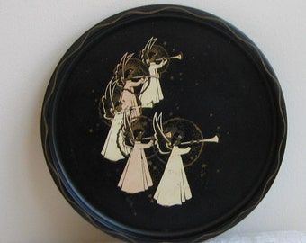 Vintage Angels Metal Tray by Nashco, Hand Painted in Pink Cream Black Gold, Rustic Christmas Decor