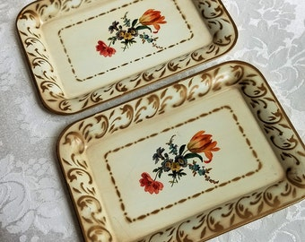 Vintage Small Metal Trays Floral Set of 2 Tip Trays Drink Coasters In Cream Gold With Botanical Flowers, Social Supper Tray, Shabby Cottage