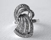Judith Jack Vintage Sterling Marcasite Judith Jack Art Deco Ribbon Ring Size 9 Ring