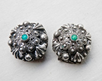 Ethnic Earrings, Silver Cannetille, Turquoise Earrings, Clip On Earrings, Ethnic Jewelry, Middle East, Mid East, Vintage Ethnic Jewelry