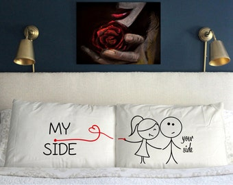 New Your Side My Side Pillow  arrow design Funny  Gift Wedding Anniversary
