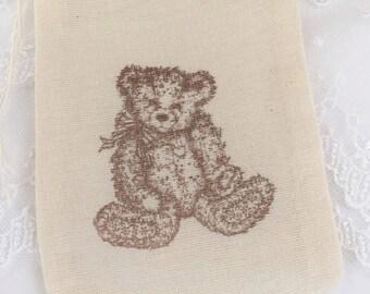 Teddy Bear Muslin Bags Baby Shower Birthday Set of 10