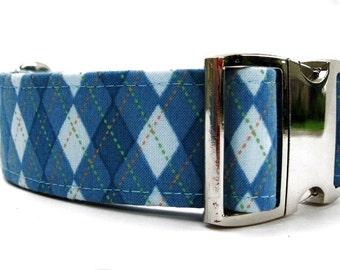 Blue Argyle Dog Collar Extra Wide Dog Collar 1.5 Inch Width Nickel Plate Hardware