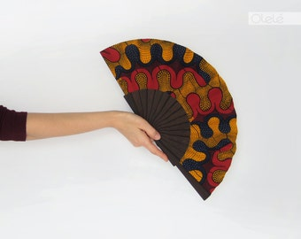 Fan with case African Ankara Wedding accessory - Red black and mustard table top wedding decor - Bridesmaids gift fan