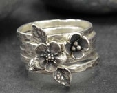 Sterling Flower Rings Forget Me Not Metalwork Hand Crafted Set of 5