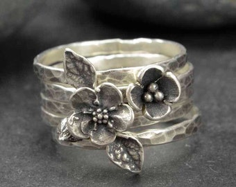 Flower Rings, Sterling Silver Rings, Forget Me Not Rings, Metalsmith Jewelry