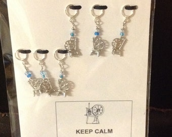 Keep Calm and Spin On Stitch Mark Greeting--Spinning WheelThemed Non-Snag Stitch Markers