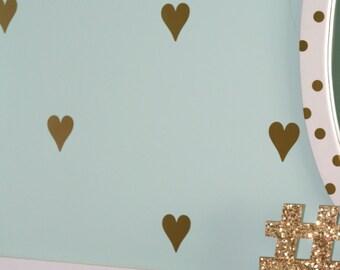 Heart Decals, Girls Room Decor, Gold, Removable & Repositionable Vinyl Decals, Hearts, Girls Bedroom, Custom Vinyl