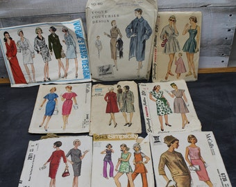 Lot of 9 Vintage Misses Sewing Patterns, 1960's, 1970's