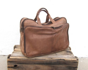 Briefcase Work Bag Rugged Brown Leather Tote