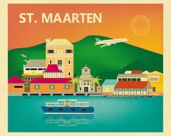 St. Maarten Art, St. Maarten Skyline Print, Phillipsburg Poster, St. Maarten  Art Gift, St.Maarten Wedding Print - style E8-O-ST-MAAR