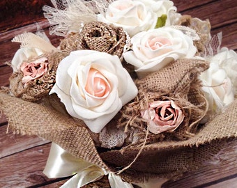 Only One! Bridal Bouquet-Rustic Bouquet- Wedding Bouquet with Roses, Burlap, Pearls, Lace