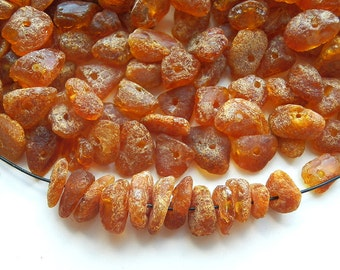 200pcs - Natural Baltic amber beads, raw, cognac amber,  6-9 mm at widest part (#209)