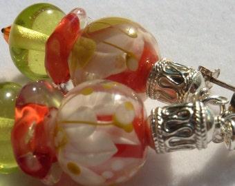 SUMMER FLOWERS Lampwork Earrings
