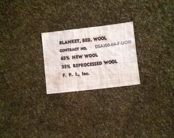 Vintage Army Military Wool Blanket