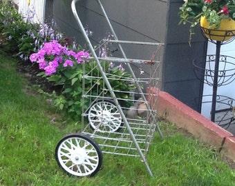 Wheeled Shopping Cart, Metal Garden Cart, Folding Beach Cart, Vintage  Shopping Cart,