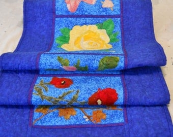 Custom Table Runner Bed Runner  State Flower, Animal, Tree, Name Interpretation Detailed Custom Picutres Applique  Art Quilt......Let's Talk
