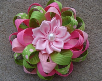 Hair bow Pink and green hair bow Loopy Hair Bow Ribbon Flower Hair Bow flower hair clip ribbon flower hair bow